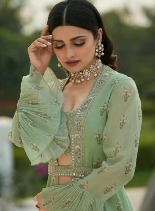 Fantastic Green Color Georgette Base Heavy Work Lehenga Choli