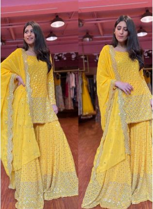 Sunny Yellow Color Georgette Base And Sequins With Embroidery Work Sharara Suit