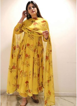 Trendy Yellow Color Georgette Base Printed Palazzo  Salwar Suit