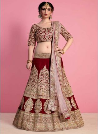 Velvet Embroidered Bridal Lehenga Choli In Maroon