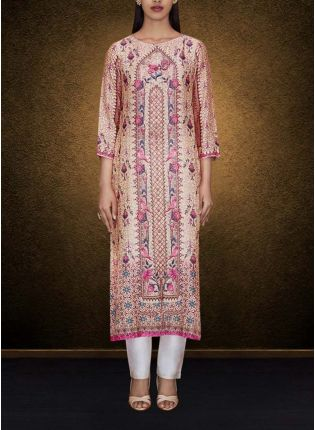 Beige Color Elegant Printed Detailed Kurti