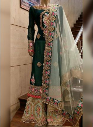 Green Georgette base  Designer Palazzo Suit
