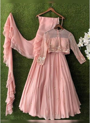 Baby Pink Bollywood Flared Lehenga Choli For Reception