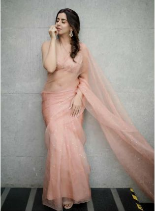 Festive Look Peach Color Organza Saree with Silk Waving