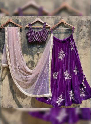 Purple Color Tafetta Silk Base Wedding Wear Lehenga Choli