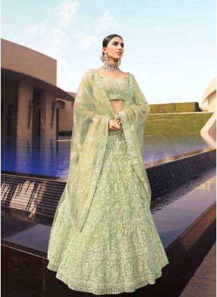 Modish Green Color Soft Net Base With Sequins Work Lehenga Choli