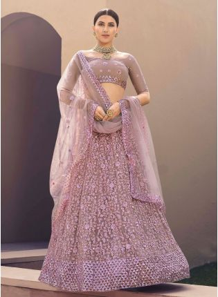 Dainty Lilac Color Soft Net Base With Sequins Work Lehenga Choli