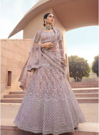 Enthralling Mauve Color Soft Net Base With Sequins Work Lehenga Choli