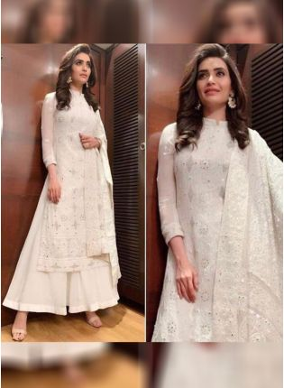 White Color Party Wear Georgette Base Designer Palazzo Suit
