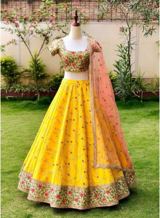 Yellow Color Designer Wedding Wear Embroidered Lehenga Choli