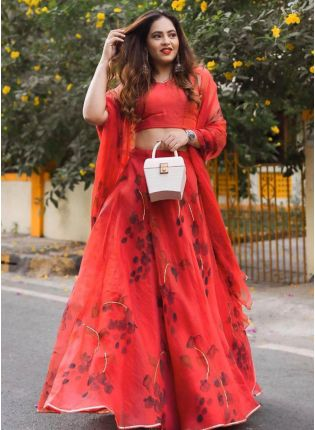 Wondrous Strawberry Red Digital Print Lehenga Choli