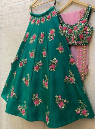 Fabulous Peacock Green Taffeta Silk Base Sequin Work Lehenga Choli