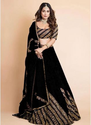 Exquisite Black Color Georgette Base Bollywood Lehenga Choli