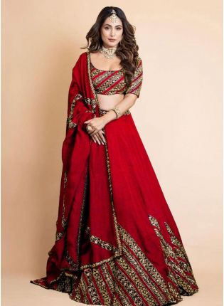 Exquisite Red Color Georgette Base Bollywood Lehenga Choli