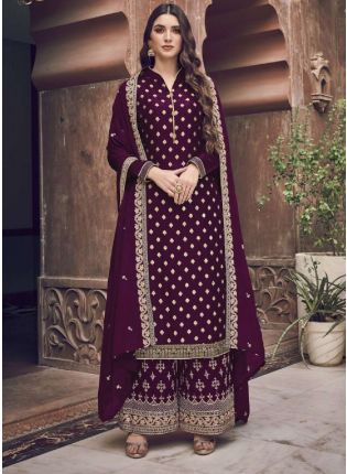 Splendid Wine Embroidery Work Palazzo Salwar Suit