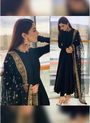 Black Color Georgette Base Party Wear Anarkali Dress