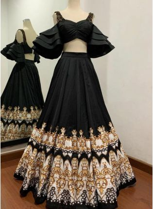 Black Digital Print Tafetta Silk Flared Panelled Party Wear Lehenga Choli