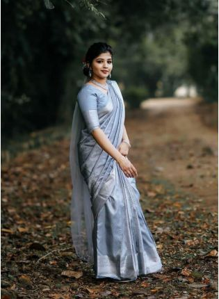 Dramatic Grey Color Silk Base Saree With Matching Blouse