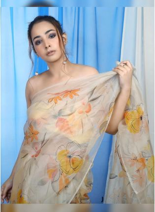Beige Digital Print Organza Casual Printed Saree