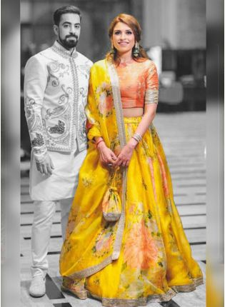Yellow Color Digital Printed Designer Flared Lehenga Choli