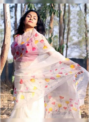 White Digital Print Organza Casual Printed Saree Kreeva
