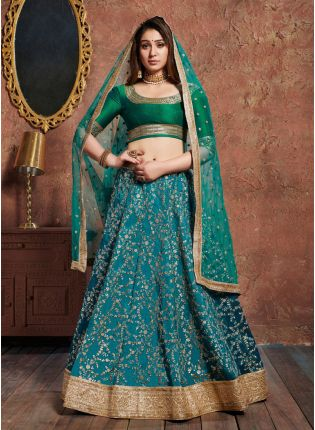 Incredible Green And Blue Art Silk Base Designer Flared Lehenga Choli