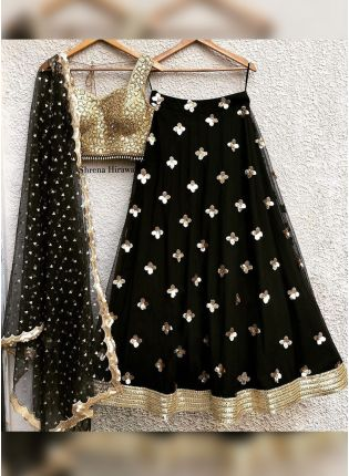 Black Zari And Sequin Party Wear Flared Lehenga Choli