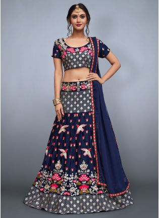 Royal Blue Heavily Embedded Exclusive Lehenga Choli