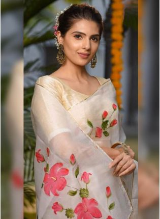 White Digital Print Organza Casual Printed Saree