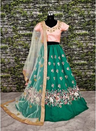 Turq Green Lehenga Paired With Blush Pink Blouse With Dupatta Set