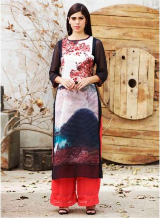 Black Floral Printed Long Kurta