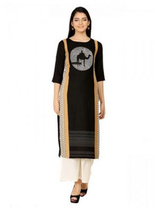 Black Ethnic Printed Long Kurta