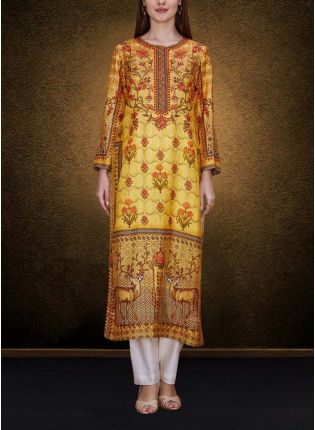 Yellow Elegant Printed Detailed Kurta