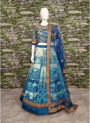 Glamours Blue Wedding Wear Digital-painted and embroidered Lehenga Choli