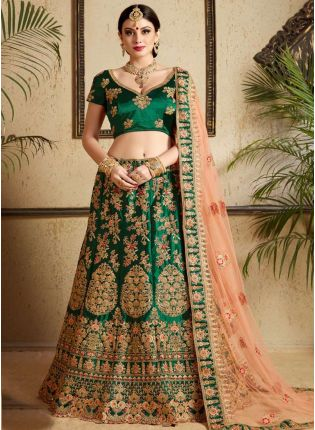 Modernistic Dark Green Heavily Embellished Bridal Lehenga Choli