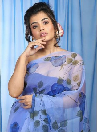 Blue Digital Print Organza Ceremonial Printed Saree