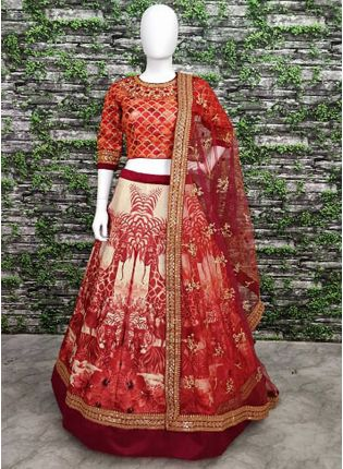 Brick Red Wedding Wear Digital-painted and embroidered Lehenga Choli