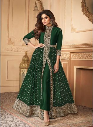 Trendy Green Slit Cut Georgette Anarkali Suit