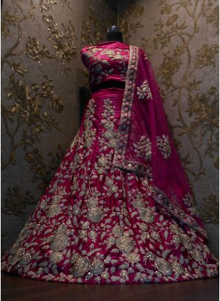 Pink Dori Work Velvet Lehenga Choli And Dupatta Set
