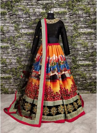 Botanical Motif Heavily Printed Lehenga Choli