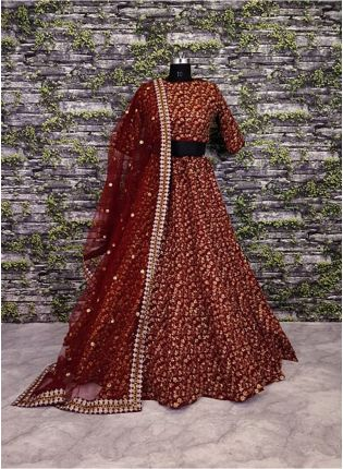 Vine Pattern Maroon Lehnenga Choli With Dupatta Set