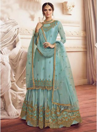 Mint Blue Pakistani Palazzo Salwar Suit For Wedding