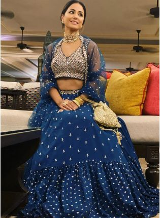 Elegant Royal Blue Ruffled Sequin Lehenga Choli