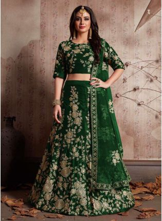 Green Dori Work Velvet Lehenga Choli And Dupatta Set
