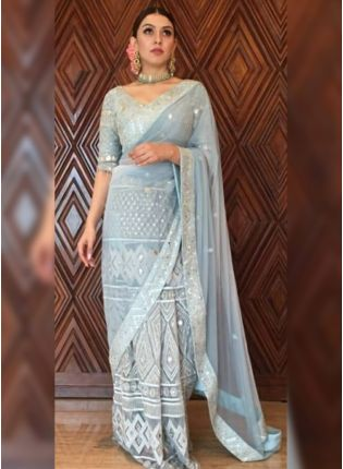 Beautiful Light Grey Color Heavy Work Saree