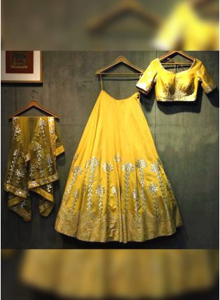 Lime Yellow Zari And Art Silk Flared Panelled Lehenga Choli