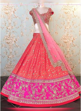 Red Sequin And Raw Silk Panelled Bridal Lehenga Choli