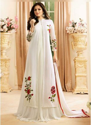 White Color Designer Party Wear Salwar Kameez Suit