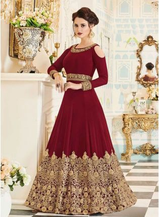 Latest Maroon Color Designer Heavy Embroidered Gown