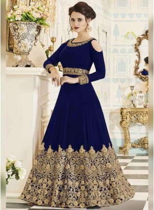 Latest Dark Blue Color Designer Heavy Embroidered Gown